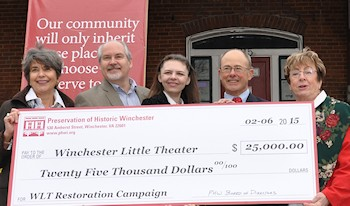 PHW presents a donation to the Winchester Little Theatre Restoration Campaign