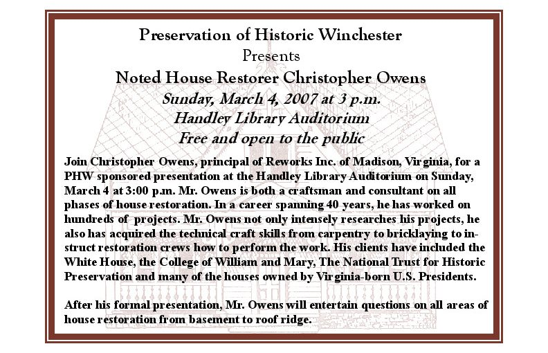 Noted House Restorer Christopher Owens to Speak
